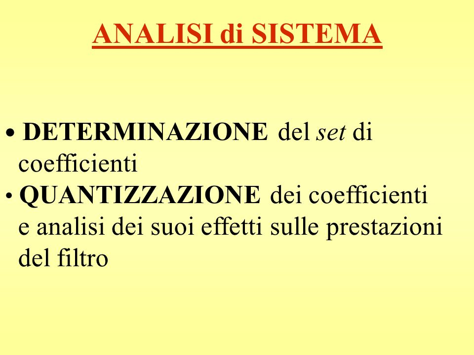 ANALISI di SISTEMA coefficienti