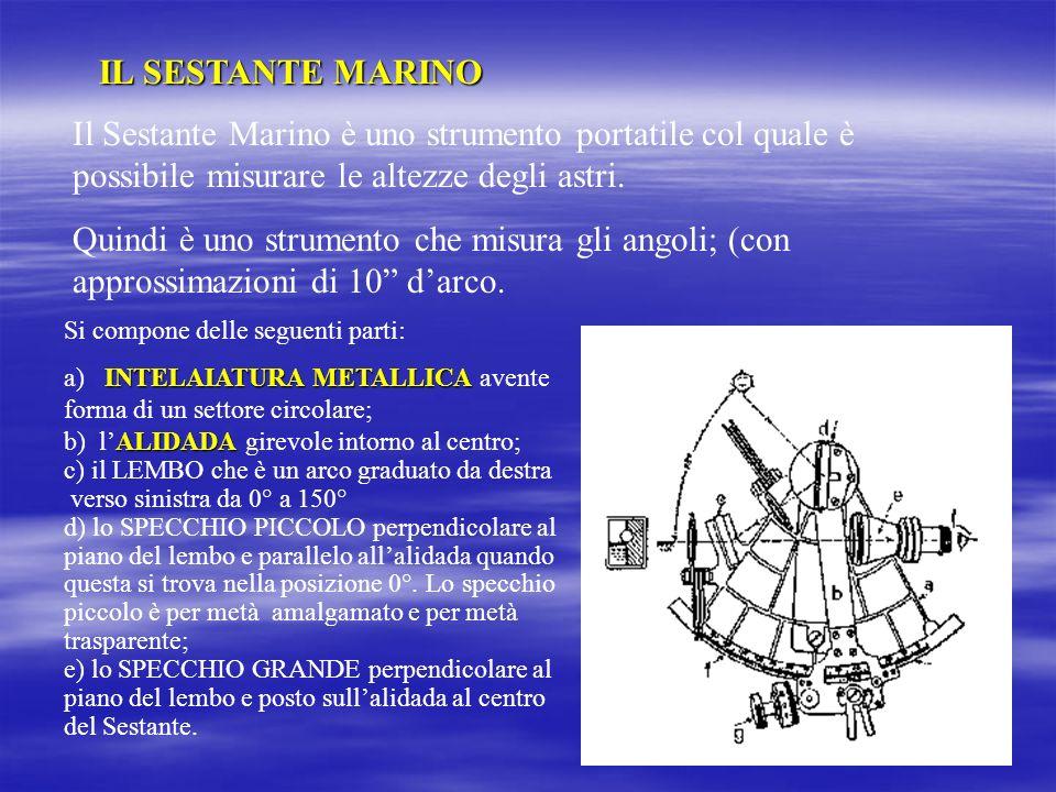 IL SESTANTE MARINO Il Sestante Marino è uno strumento portatile col quale è possibile misurare le altezze degli astri.