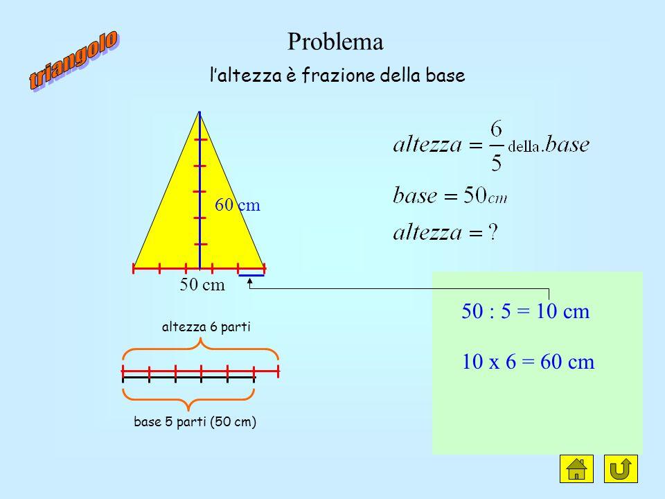 triangolo clic Problema 50 : 5 = 10 cm 10 x 6 = 60 cm