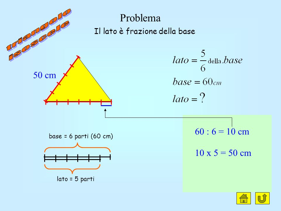 triangolo isoscele clic Problema 50 cm 60 : 6 = 10 cm 10 x 5 = 50 cm