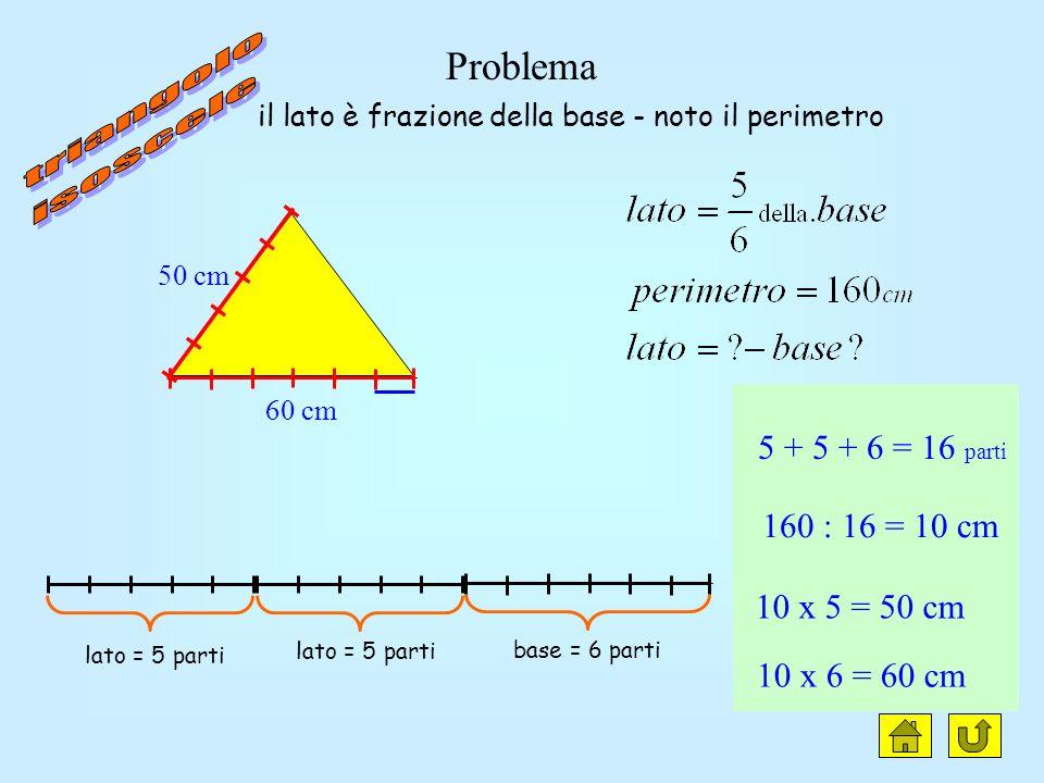 triangolo isoscele clic Problema 5 + 5 + 6 = 16 parti 160 : 16 = 10 cm