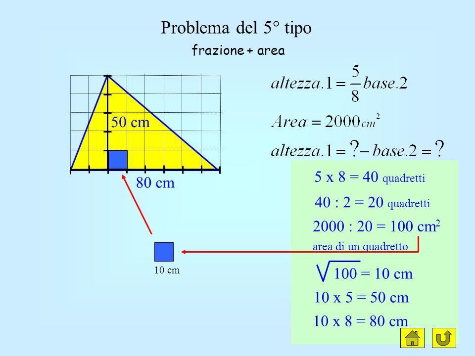 clic Problema del 5° tipo 50 cm 5 x 8 = 40 quadretti 80 cm