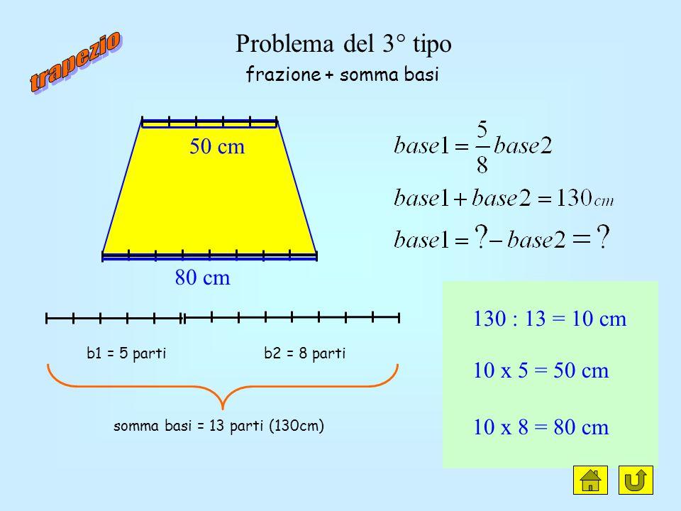 trapezio clic Problema del 3° tipo 50 cm 80 cm 130 : 13 = 10 cm