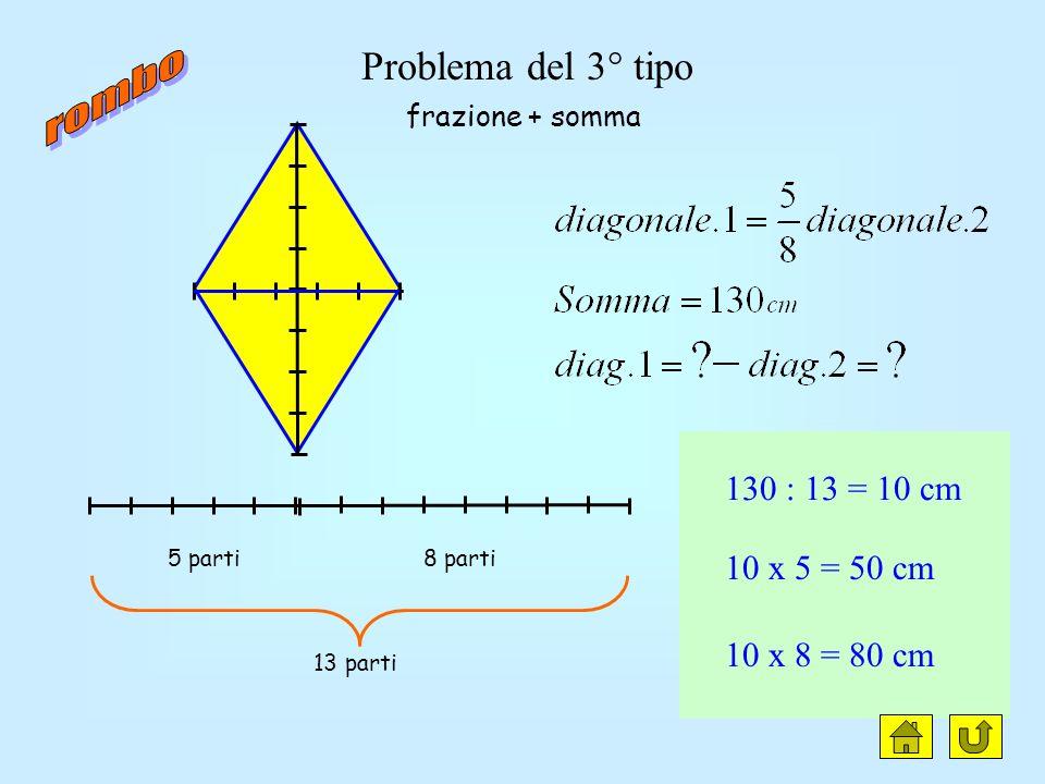 rombo clic Problema del 3° tipo 130 : 13 = 10 cm 10 x 5 = 50 cm