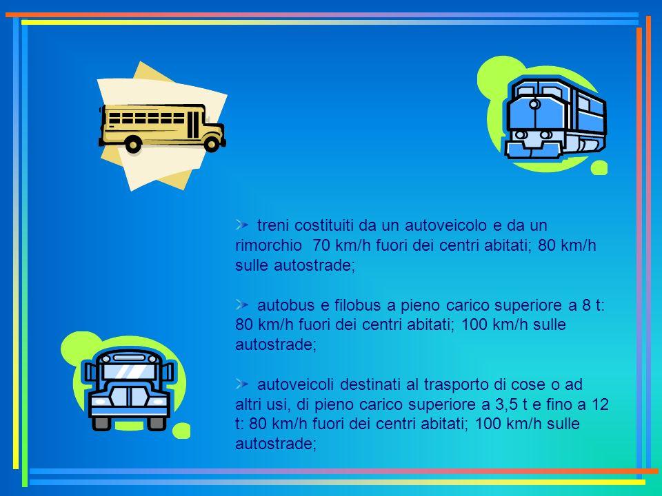 treni costituiti da un autoveicolo e da un rimorchio 70 km/h fuori dei centri abitati; 80 km/h sulle autostrade;