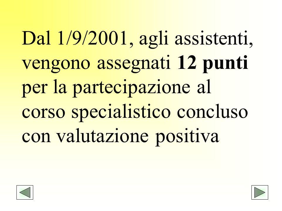 Dal 1/9/2001, agli assistenti, vengono assegnati 12 punti per la partecipazione al corso specialistico concluso con valutazione positiva.