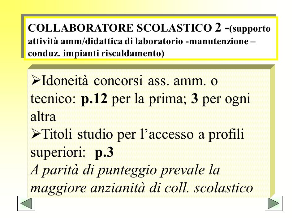 Titoli studio per l'accesso a profili superiori: p.3