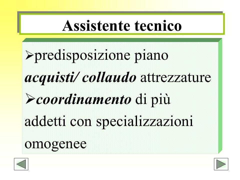 Assistente tecnico predisposizione piano acquisti/ collaudo attrezzature.