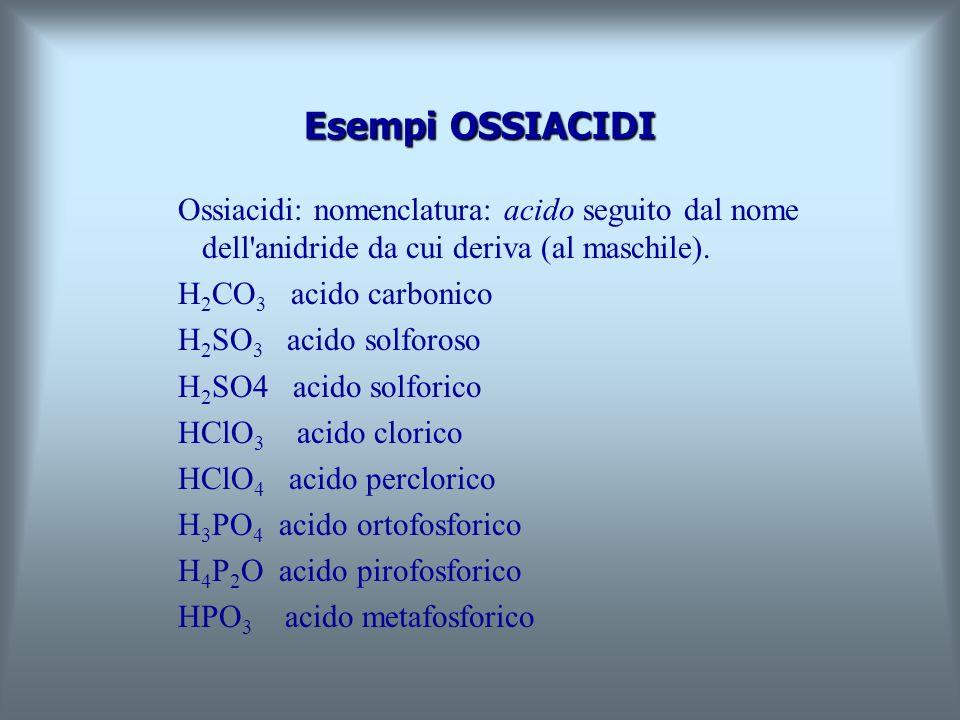 Esempi OSSIACIDI Ossiacidi: nomenclatura: acido seguito dal nome dell anidride da cui deriva (al maschile).