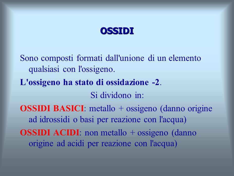 OSSIDI Sono composti formati dall unione di un elemento qualsiasi con l ossigeno. L ossigeno ha stato di ossidazione -2.