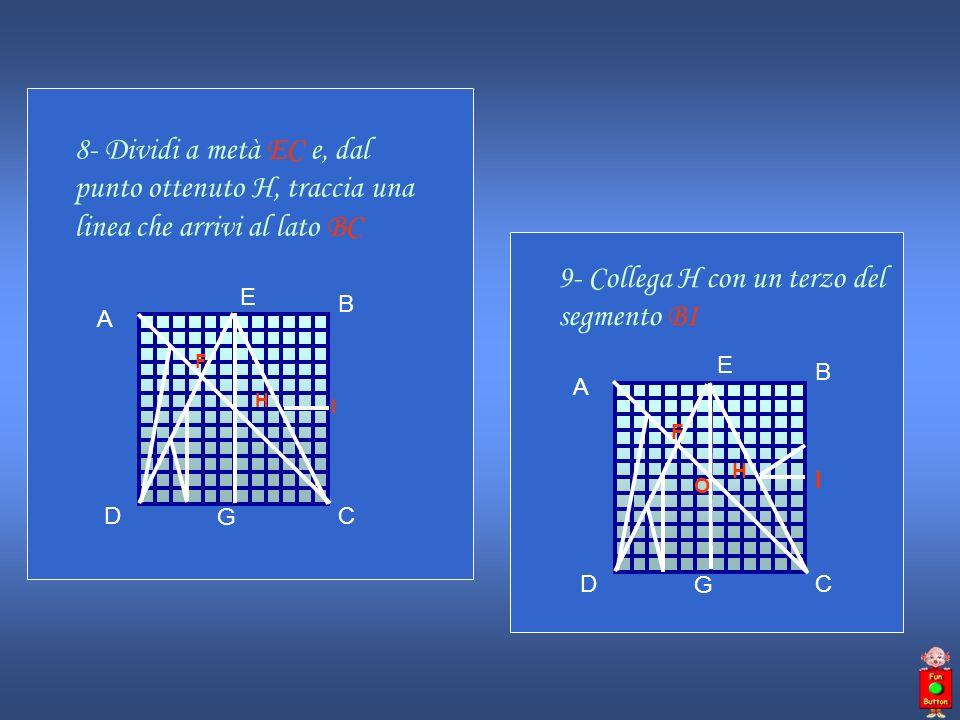 9- Collega H con un terzo del segmento BI