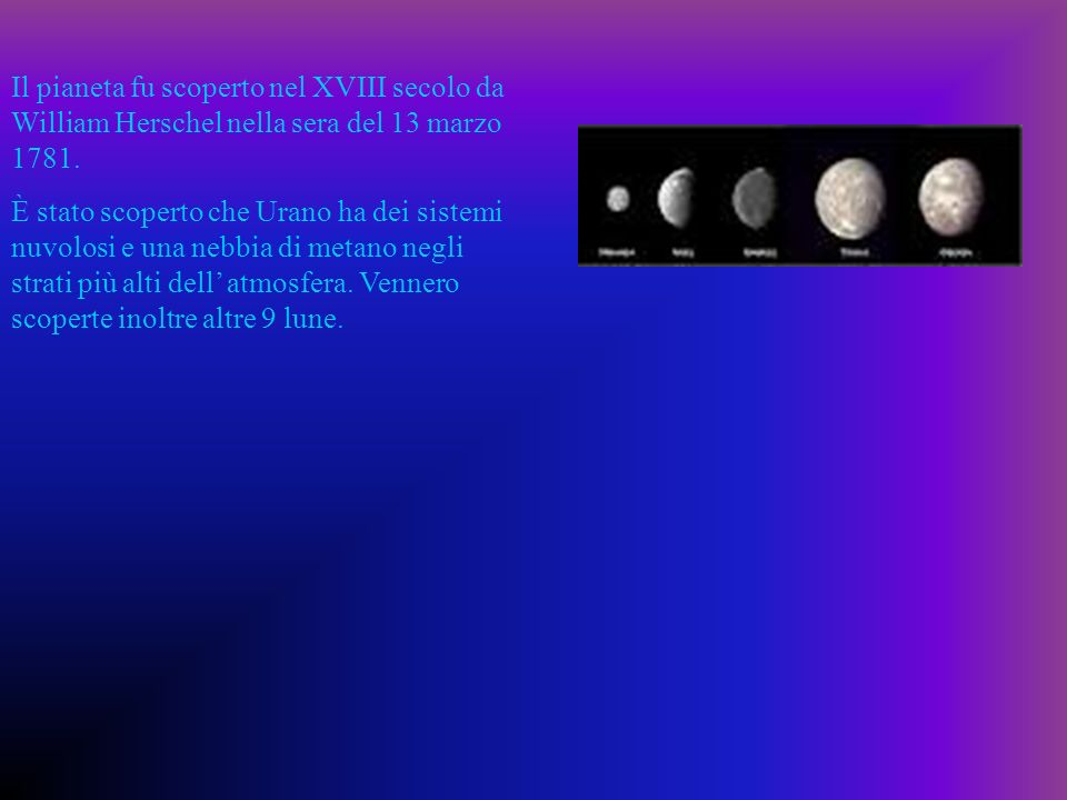 Il pianeta fu scoperto nel XVIII secolo da William Herschel nella sera del 13 marzo 1781.