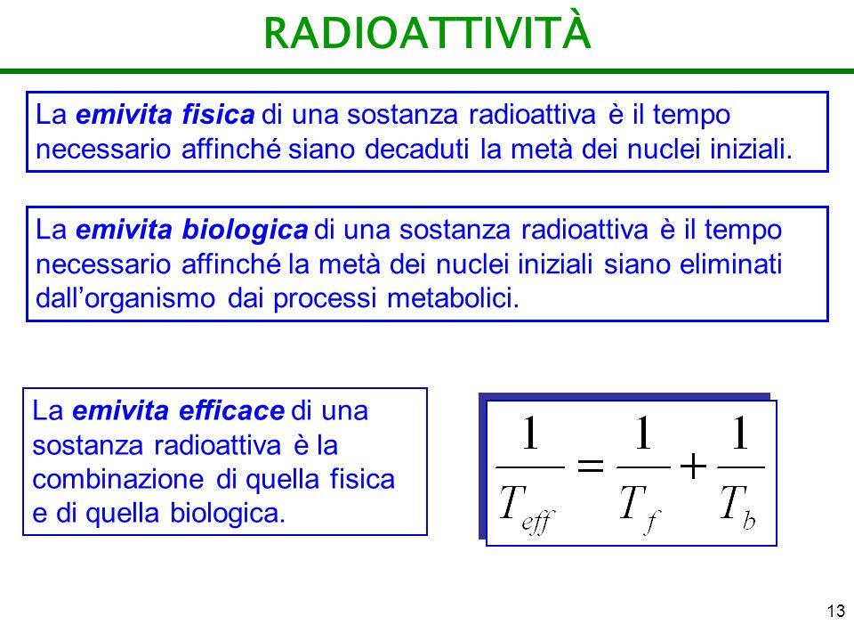 RADIOATTIVITÀ La emivita fisica di una sostanza radioattiva è il tempo necessario affinché siano decaduti la metà dei nuclei iniziali.