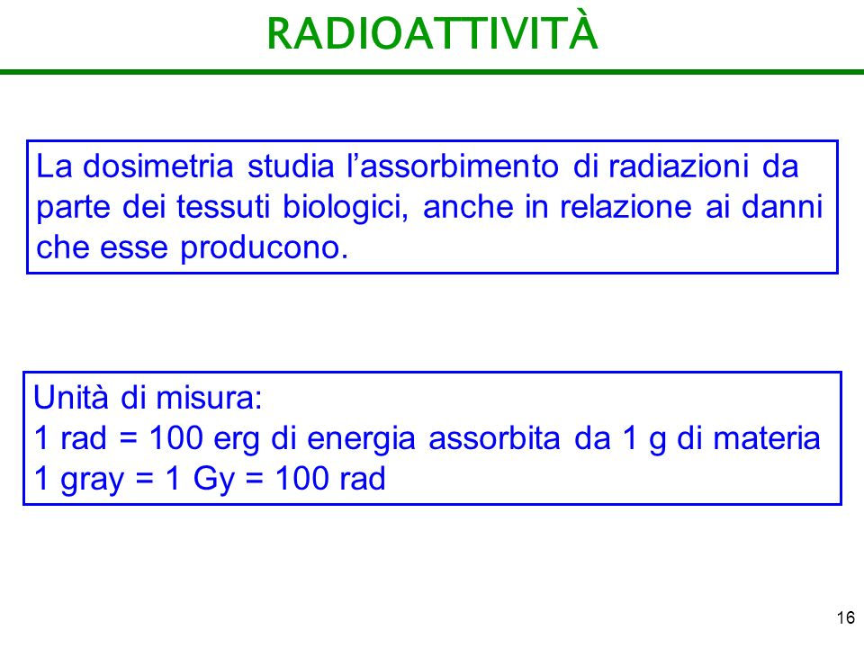 RADIOATTIVITÀ La dosimetria studia l'assorbimento di radiazioni da parte dei tessuti biologici, anche in relazione ai danni che esse producono.