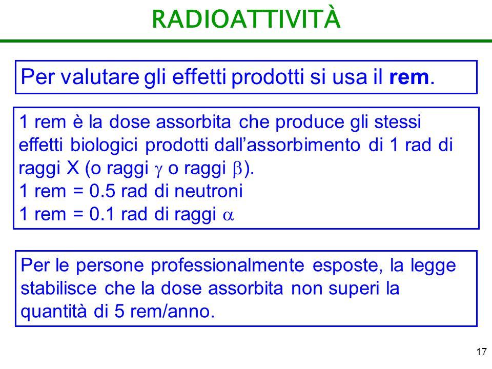 RADIOATTIVITÀ Per valutare gli effetti prodotti si usa il rem.