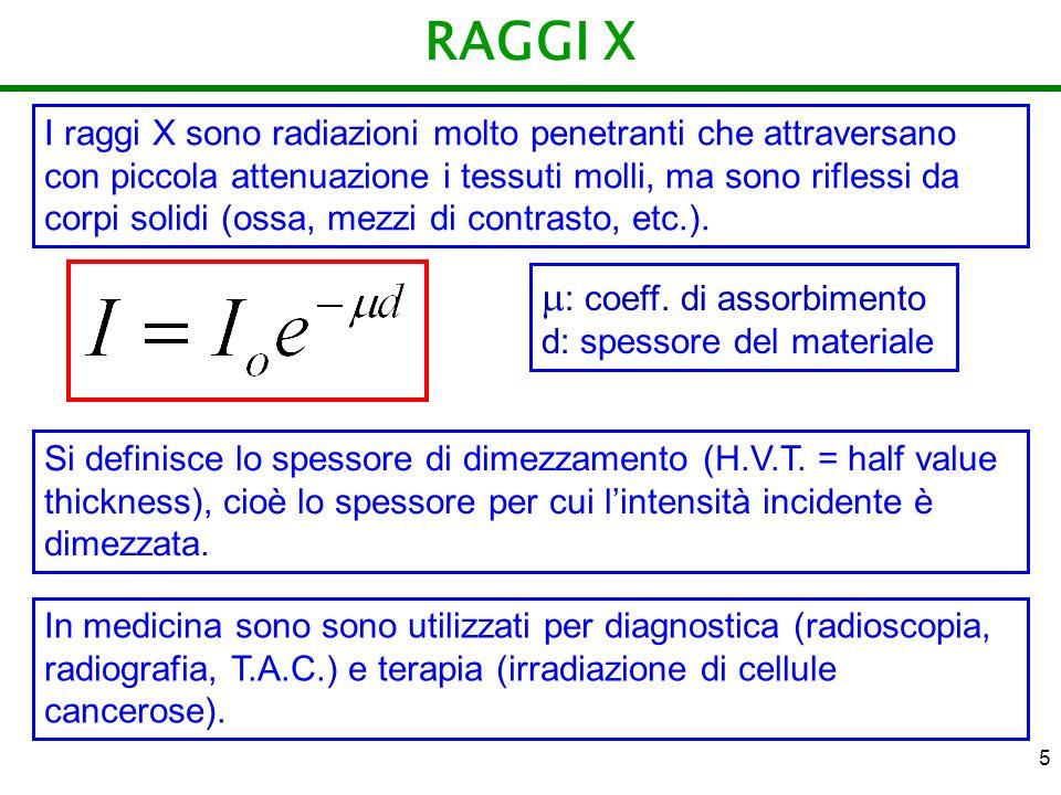 RAGGI X : coeff. di assorbimento d: spessore del materiale