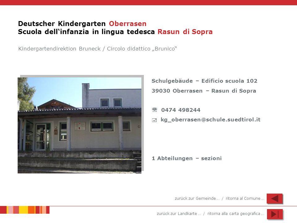 Deutscher Kindergarten Oberrasen Scuola dell'infanzia in lingua tedesca Rasun di Sopra