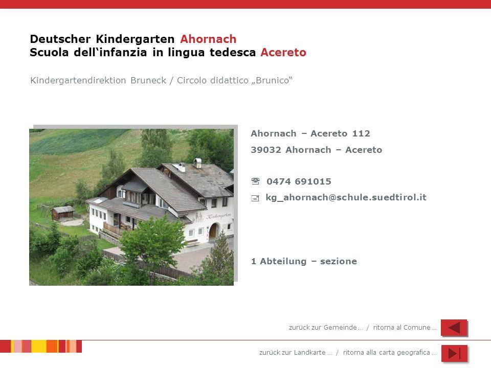 Deutscher Kindergarten Ahornach Scuola dell'infanzia in lingua tedesca Acereto