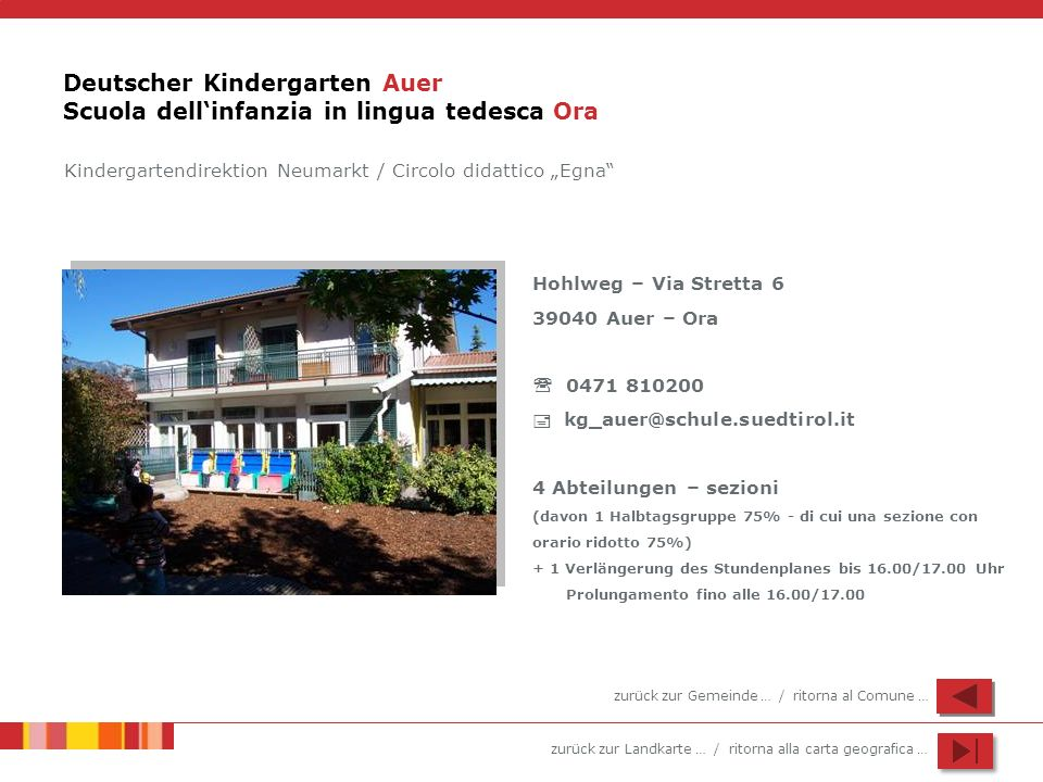 Deutscher Kindergarten Auer Scuola dell'infanzia in lingua tedesca Ora