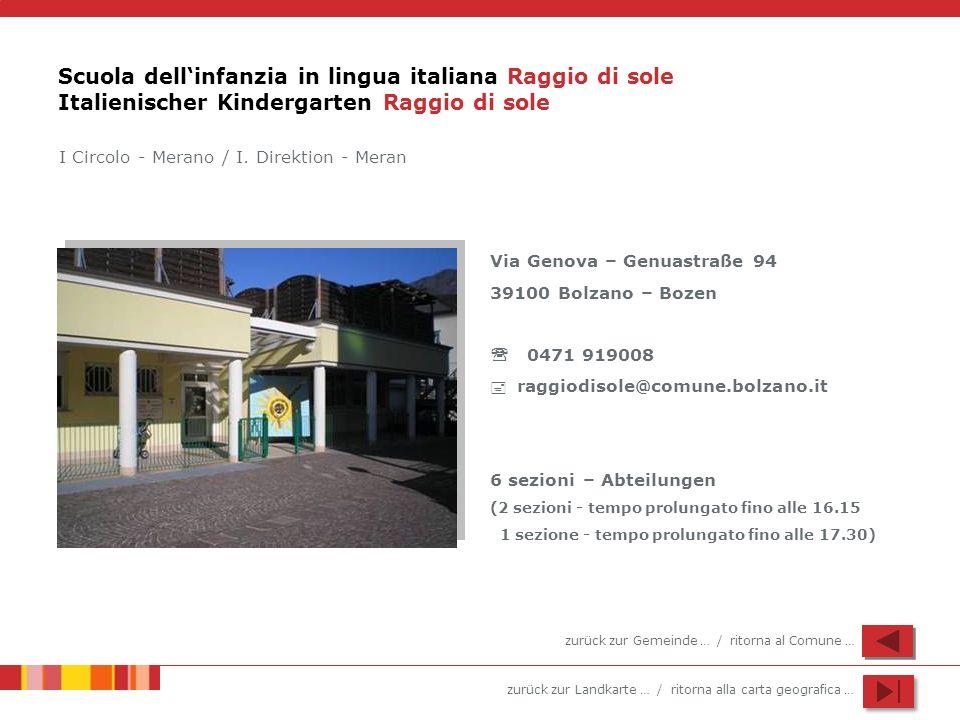 Scuola dell'infanzia in lingua italiana Raggio di sole Italienischer Kindergarten Raggio di sole