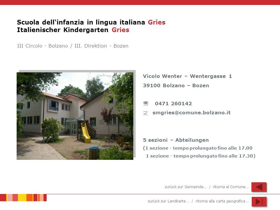 Scuola dell'infanzia in lingua italiana Gries Italienischer Kindergarten Gries