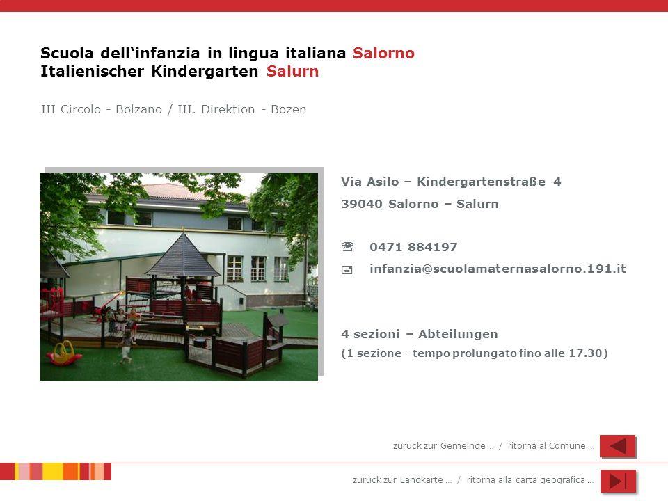 Scuola dell'infanzia in lingua italiana Salorno Italienischer Kindergarten Salurn