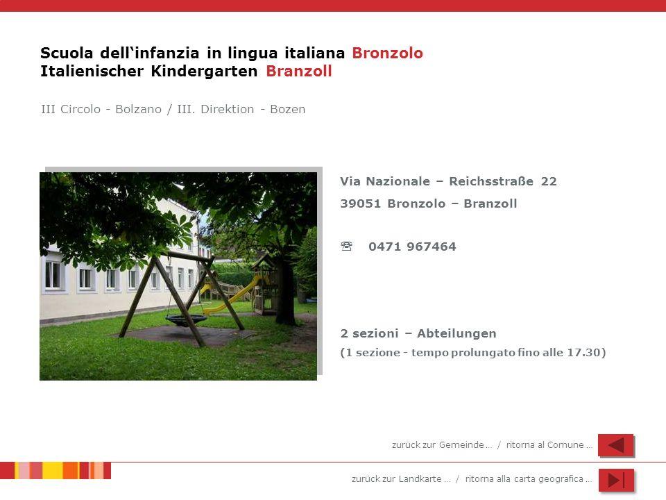 Scuola dell'infanzia in lingua italiana Bronzolo Italienischer Kindergarten Branzoll