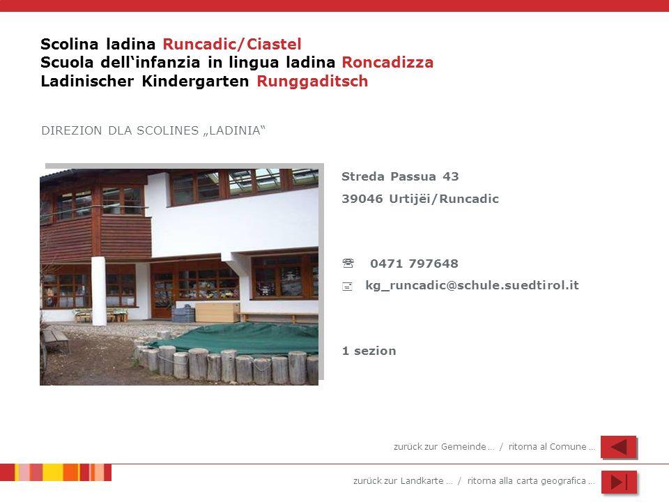 Scolina ladina Runcadic/Ciastel Scuola dell'infanzia in lingua ladina Roncadizza Ladinischer Kindergarten Runggaditsch