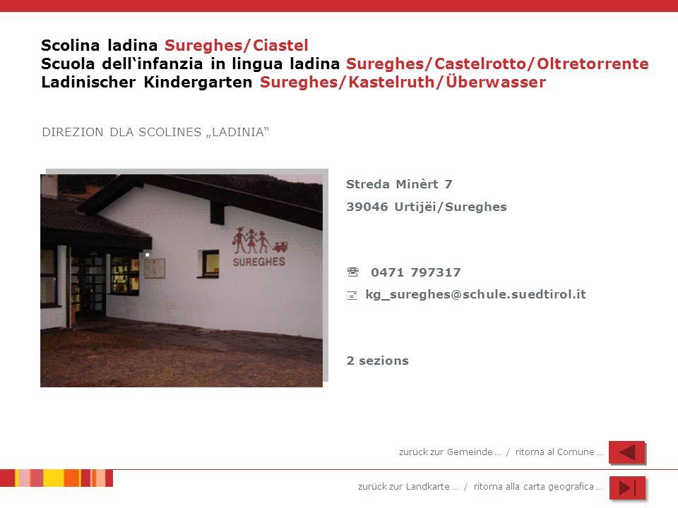 Scolina ladina Sureghes/Ciastel Scuola dell'infanzia in lingua ladina Sureghes/Castelrotto/Oltretorrente Ladinischer Kindergarten Sureghes/Kastelruth/Überwasser