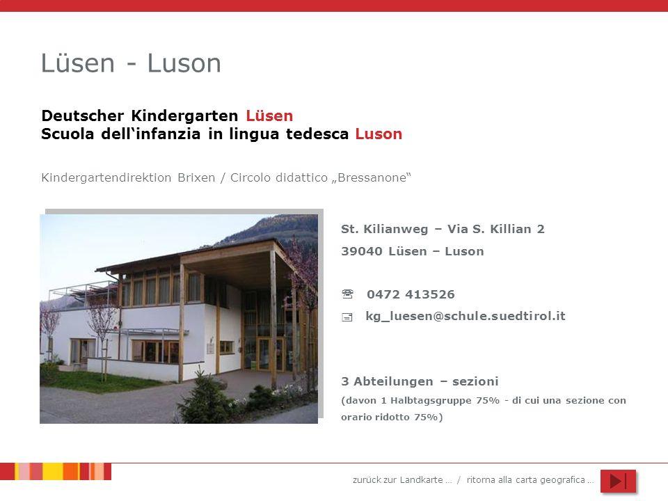 Lüsen - Luson Deutscher Kindergarten Lüsen Scuola dell'infanzia in lingua tedesca Luson.