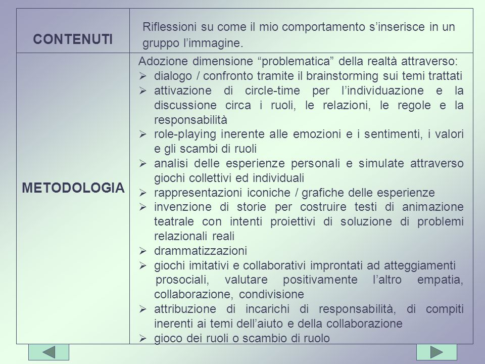 CONTENUTI METODOLOGIA