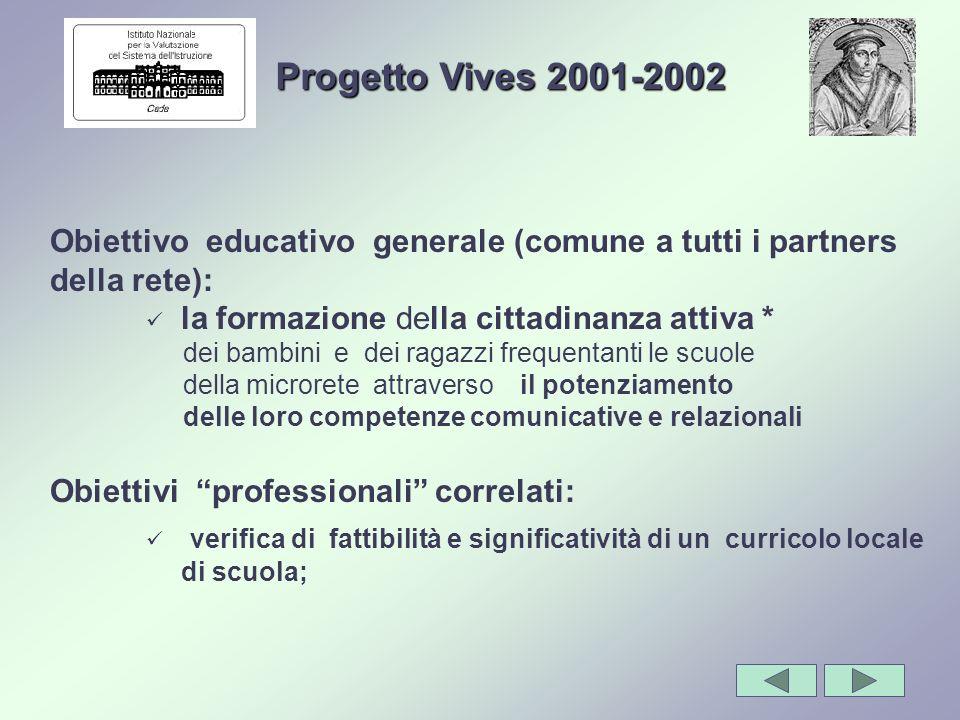 Progetto Vives 2001-2002 Obiettivo educativo generale (comune a tutti i partners della rete): la formazione della cittadinanza attiva *