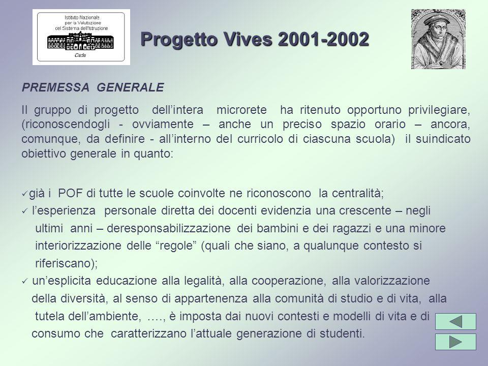 Progetto Vives 2001-2002 PREMESSA GENERALE