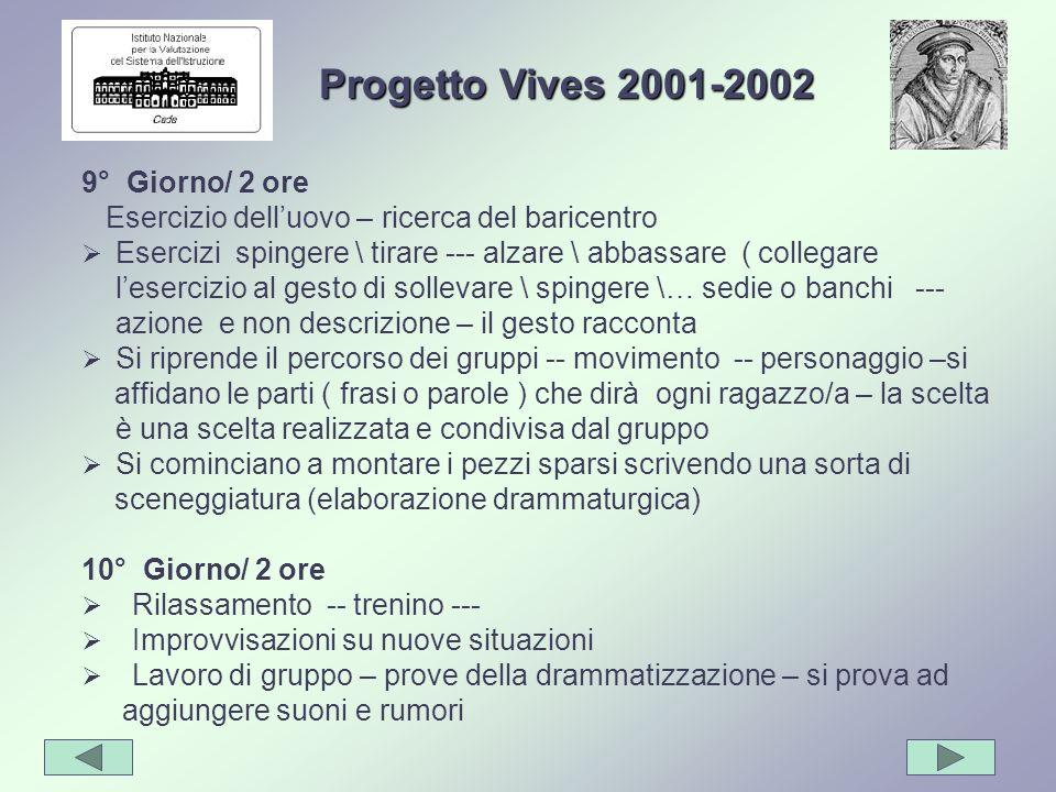 Progetto Vives 2001-2002 9° Giorno/ 2 ore