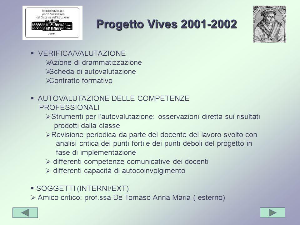 Progetto Vives 2001-2002 VERIFICA/VALUTAZIONE