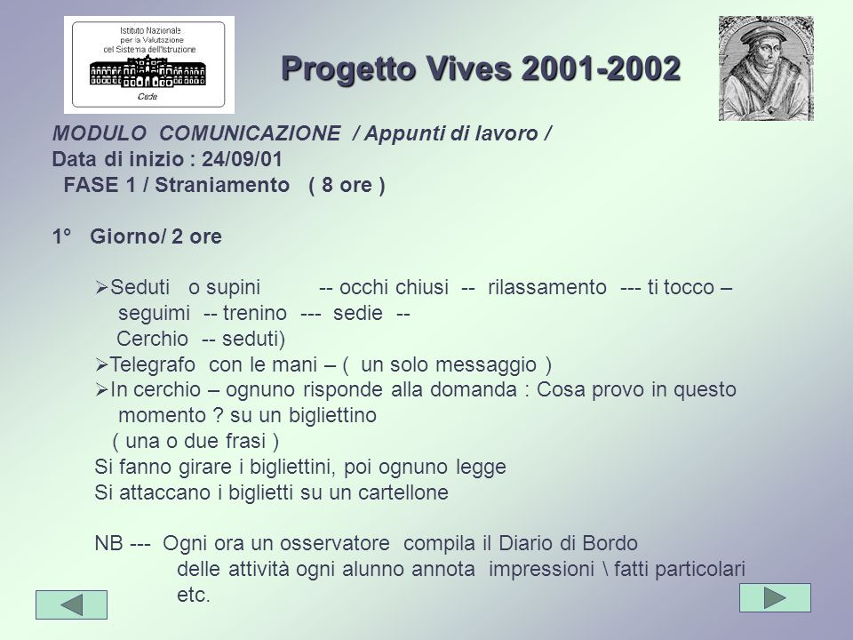 Progetto Vives 2001-2002 MODULO COMUNICAZIONE / Appunti di lavoro /