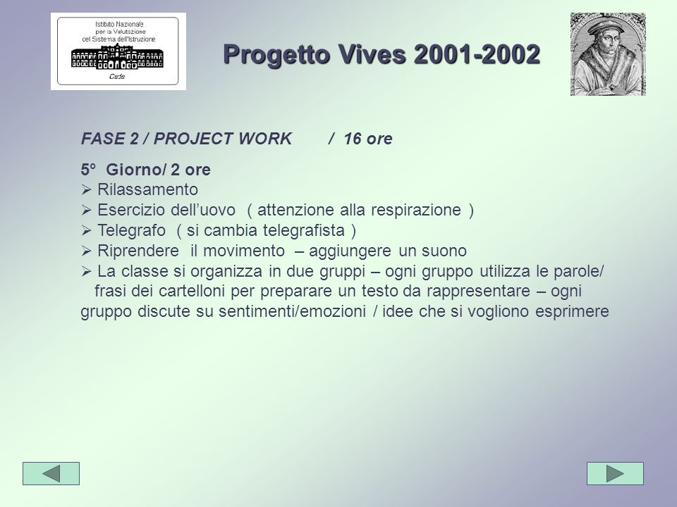 Progetto Vives 2001-2002 FASE 2 / PROJECT WORK / 16 ore