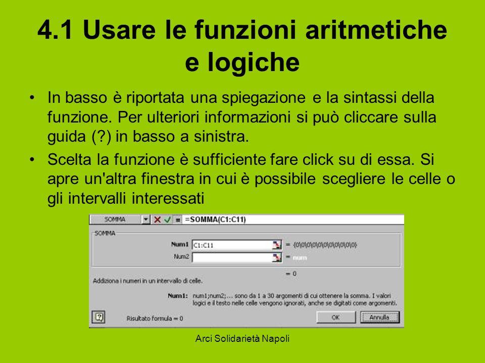 4.1 Usare le funzioni aritmetiche e logiche