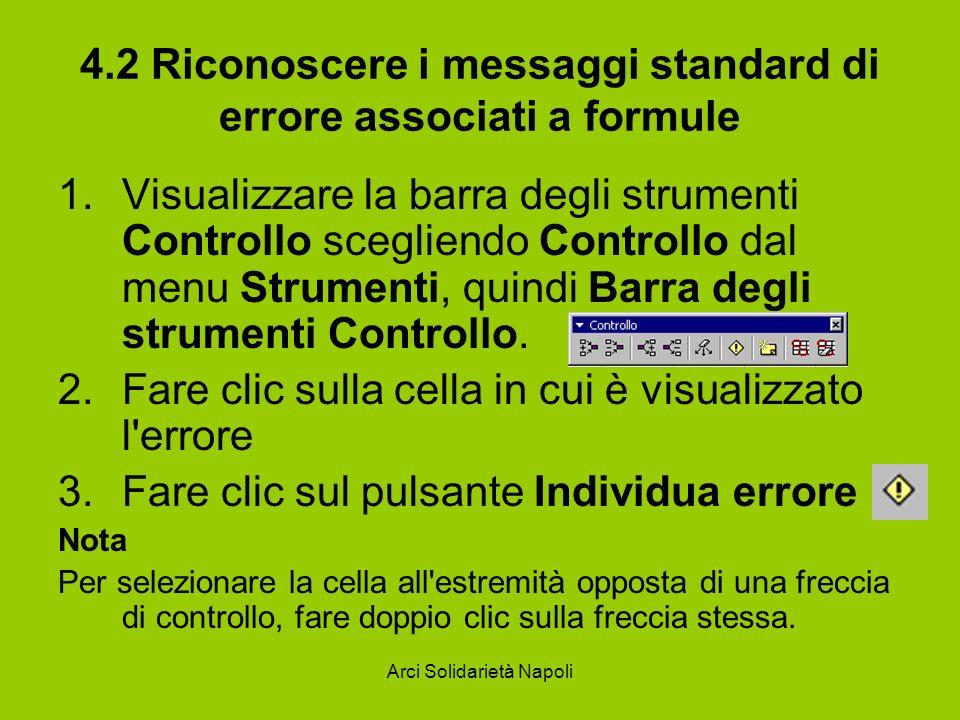 4.2 Riconoscere i messaggi standard di errore associati a formule