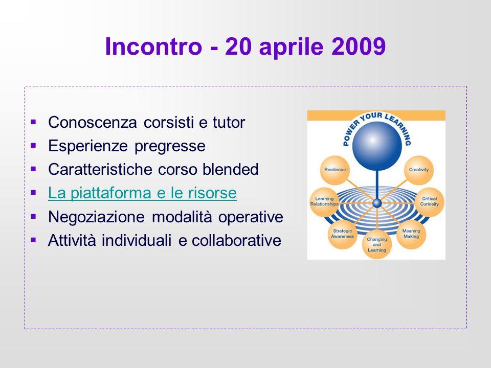 Incontro - 20 aprile 2009 Conoscenza corsisti e tutor