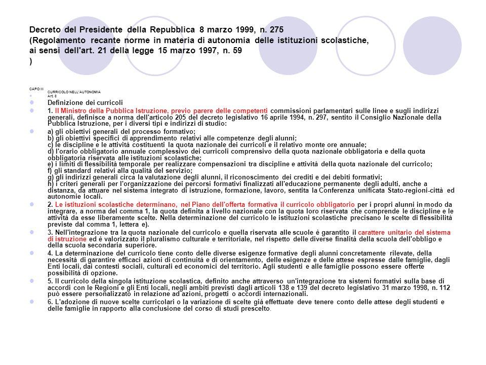 Decreto del Presidente della Repubblica 8 marzo 1999, n