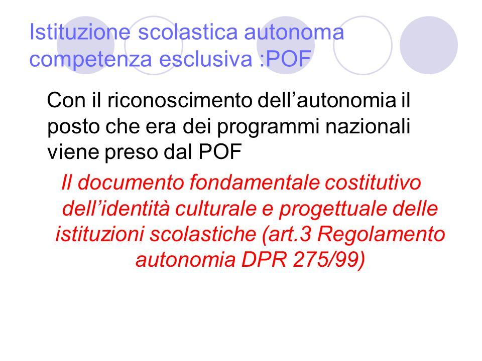 Istituzione scolastica autonoma competenza esclusiva :POF
