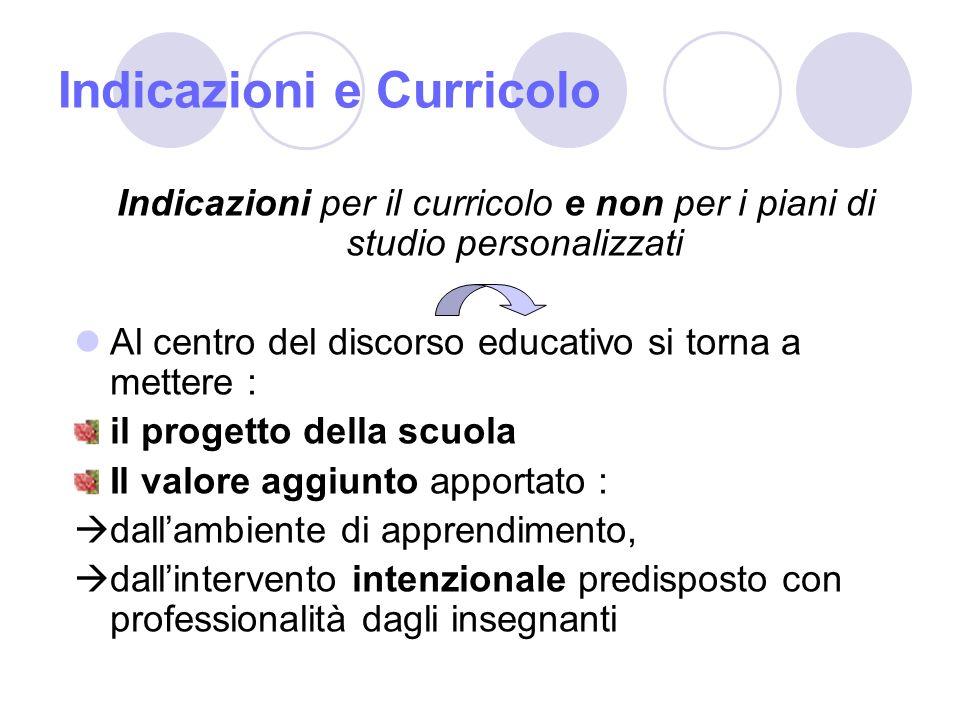 Indicazioni e Curricolo