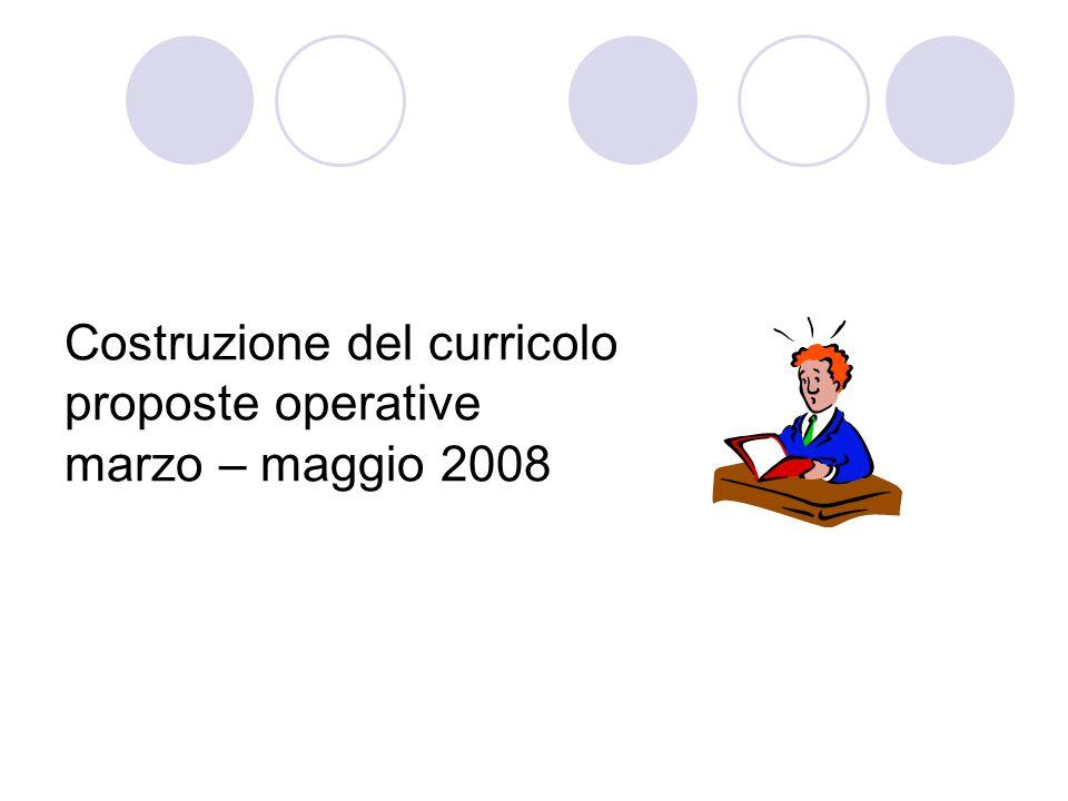 Costruzione del curricolo proposte operative marzo – maggio 2008
