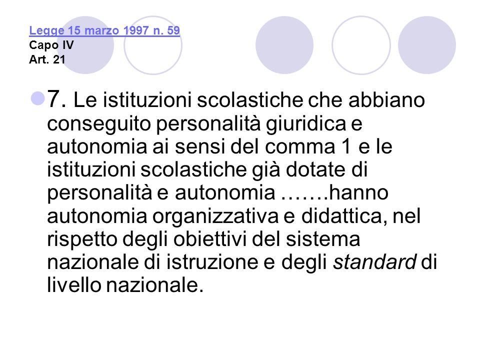 Legge 15 marzo 1997 n. 59 Capo IV Art. 21