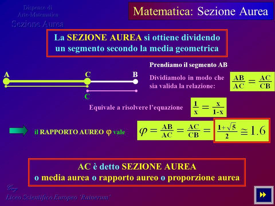 Matematica: Sezione Aurea