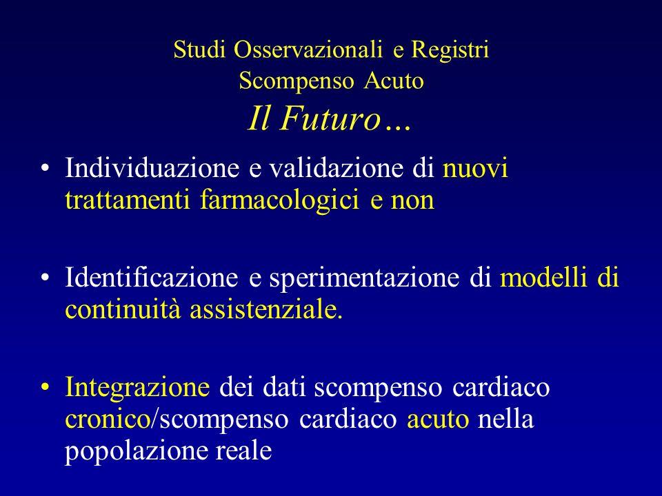 Studi Osservazionali e Registri Scompenso Acuto Il Futuro…
