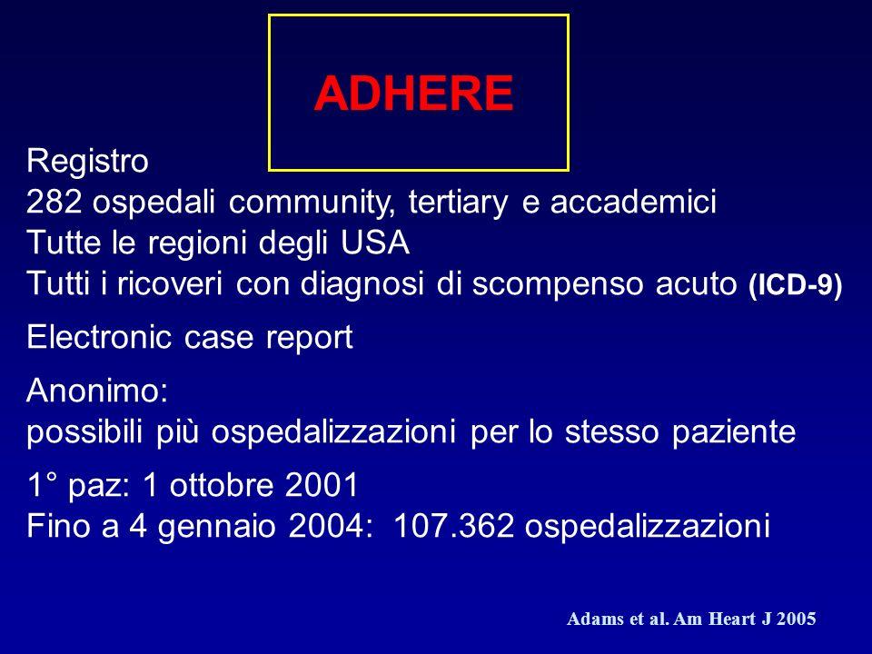 ADHERE Registro 282 ospedali community, tertiary e accademici