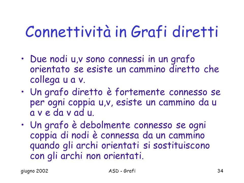 Connettività in Grafi diretti