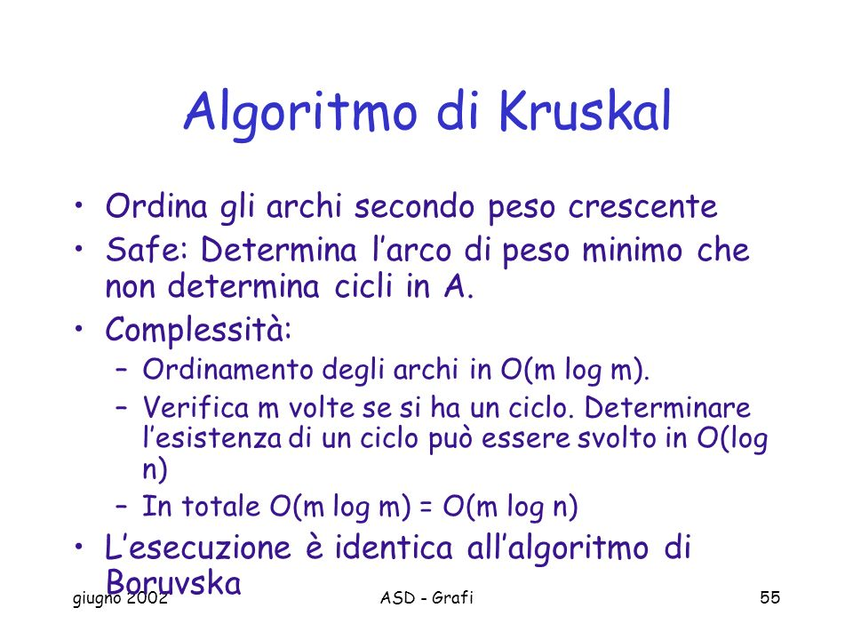 Algoritmo di Kruskal Ordina gli archi secondo peso crescente